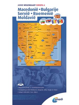 ANWB Wegenkaart Macedonië, Bulgarije, Servië, Roemenië, Moldavië