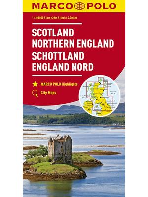 Marco Polo wegenkaart Schotland en Noord-Engeland