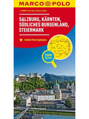 Marco Polo wegenkaart Salzburg, Kärnten, Steiermark, Südliches Burgenland