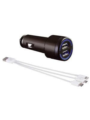 Universele 3-in-1 Autoladerset met aanstekerplug - 3A - USB